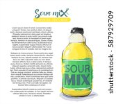 hand draw of sour mix bottle.... | Shutterstock .eps vector #587929709