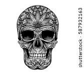 vector black and white tattoo... | Shutterstock .eps vector #587932163
