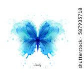 beautiful blue watercolor... | Shutterstock .eps vector #587935718