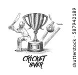 batsman playing cricket... | Shutterstock .eps vector #587942189