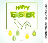 happy easter background with... | Shutterstock .eps vector #587951030