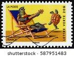 france   circa 2014  a stamp...   Shutterstock . vector #587951483
