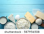 fresh dairy products on blue... | Shutterstock . vector #587956508