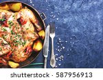 grilled chicken cooked in pan... | Shutterstock . vector #587956913