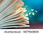 open pages old magic book on a... | Shutterstock . vector #587960804