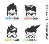 cartoon boy's face nerd with... | Shutterstock .eps vector #587964416
