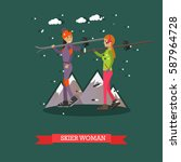 vector illustration of skiers...   Shutterstock .eps vector #587964728
