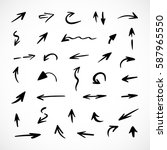 hand drawn arrows  vector set | Shutterstock .eps vector #587965550