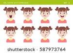 set of kid facial emotions.... | Shutterstock .eps vector #587973764