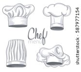 set of hand drawn chef hat on...   Shutterstock .eps vector #587977154