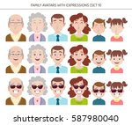 set of family avatars with... | Shutterstock .eps vector #587980040