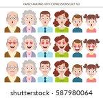 set of family avatars with... | Shutterstock .eps vector #587980064