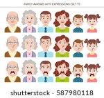 set of family avatars with... | Shutterstock .eps vector #587980118