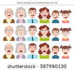 set of family avatars with... | Shutterstock .eps vector #587980130