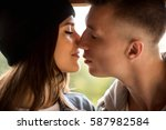 kissing couple  close up... | Shutterstock . vector #587982584