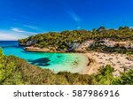 majorca beach summer holiday ... | Shutterstock . vector #587986916