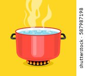 boiling water in pan. red... | Shutterstock .eps vector #587987198