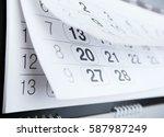 closeup of calendar page | Shutterstock . vector #587987249