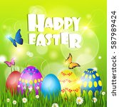 happy easter decorated colorful ... | Shutterstock .eps vector #587989424