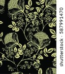 pattern with flowers on black... | Shutterstock .eps vector #587991470