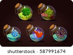 bottles set  with magic potion. ...   Shutterstock .eps vector #587991674