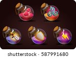 bottles set  with magic potion. ... | Shutterstock .eps vector #587991680