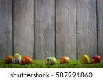 easter eggs painted on a wooden ... | Shutterstock . vector #587991860