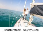 young couple in love on sail... | Shutterstock . vector #587993828