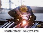 steel welding or welder... | Shutterstock . vector #587996198
