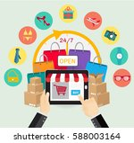 online shopping e commerce... | Shutterstock .eps vector #588003164