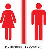 toilet man women red | Shutterstock .eps vector #588003419