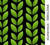 green leaves on black... | Shutterstock .eps vector #588012068
