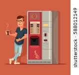 man character drinking coffee... | Shutterstock .eps vector #588012149