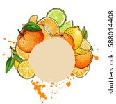 citrus. set of fruit. fresh... | Shutterstock .eps vector #588014408