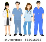 group of doctors in a hospital  ... | Shutterstock .eps vector #588016088