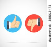 like and dislike. round icons... | Shutterstock .eps vector #588019478