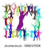 big group people jumping  | Shutterstock .eps vector #588019508