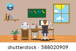 freelancer boy man working on... | Shutterstock .eps vector #588020909