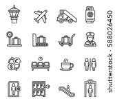 airport sign  airport icons set.... | Shutterstock .eps vector #588026450