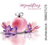 pink bottle women's perfume... | Shutterstock .eps vector #588027173