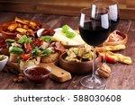 italian antipasti wine snacks...   Shutterstock . vector #588030608