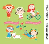 spring and summer child's... | Shutterstock .eps vector #588036968