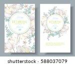 vector spring flower banners... | Shutterstock .eps vector #588037079
