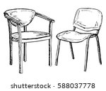 two chairs isolated on white... | Shutterstock .eps vector #588037778