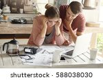 stressed young caucasian couple ... | Shutterstock . vector #588038030