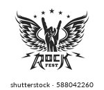 rock sign gesture and wings for ... | Shutterstock .eps vector #588042260
