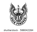 wings and guitar for rock music ... | Shutterstock .eps vector #588042284