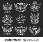 rock music festival logo ... | Shutterstock .eps vector #588043319