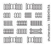 Fences Flat Line Icons. Set Of...