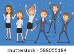 employees glad succeed. joy in... | Shutterstock .eps vector #588055184